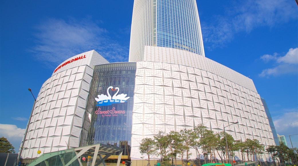 롯데월드타워 을 보여주는 현대적 건축 과 신호