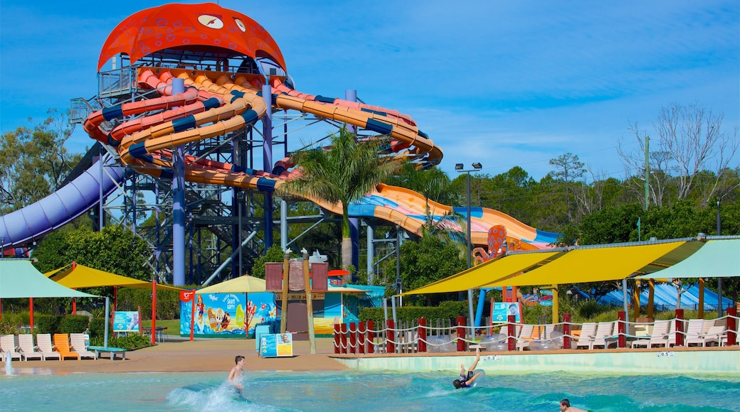 Gold Coast which includes swimming and a waterpark as well as a small group of people