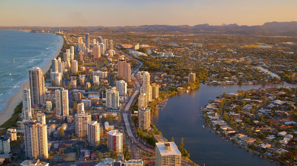 Surfers Paradise showing a city, a river or creek and a sunset