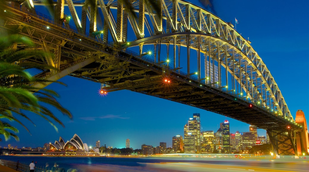 New South Wales which includes a bridge, a high-rise building and a river or creek