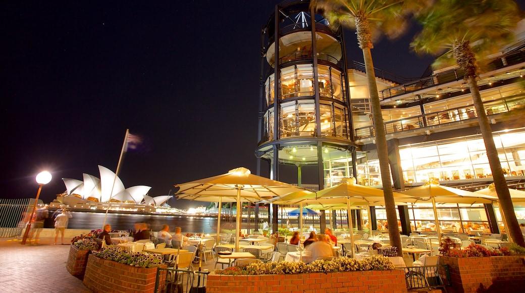 Circular Quay - The Rocks caratteristiche di mangiare all\'aperto, paesaggio notturno e baia e porto