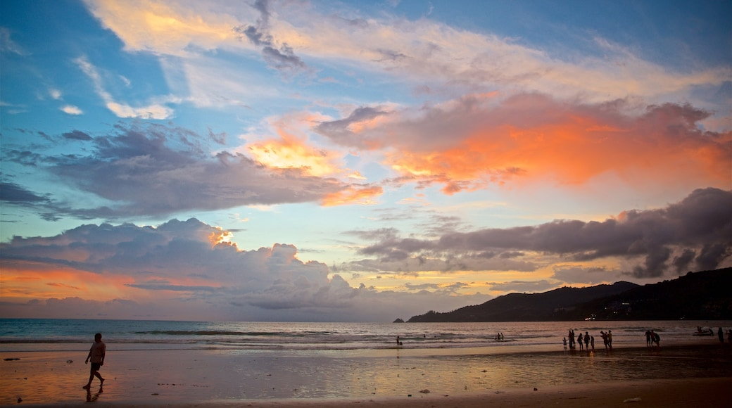 Patong showing a sunset and general coastal views