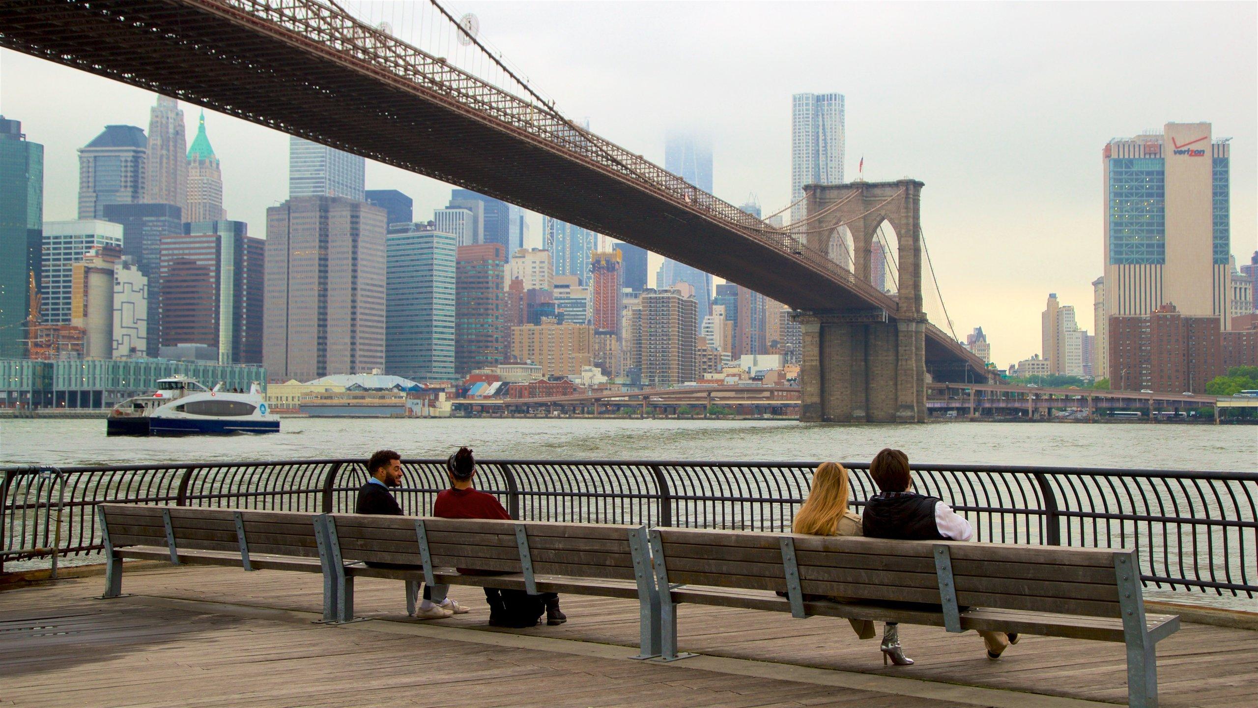 Downtown Brooklyn che include casa a torre, fiume o ruscello e città