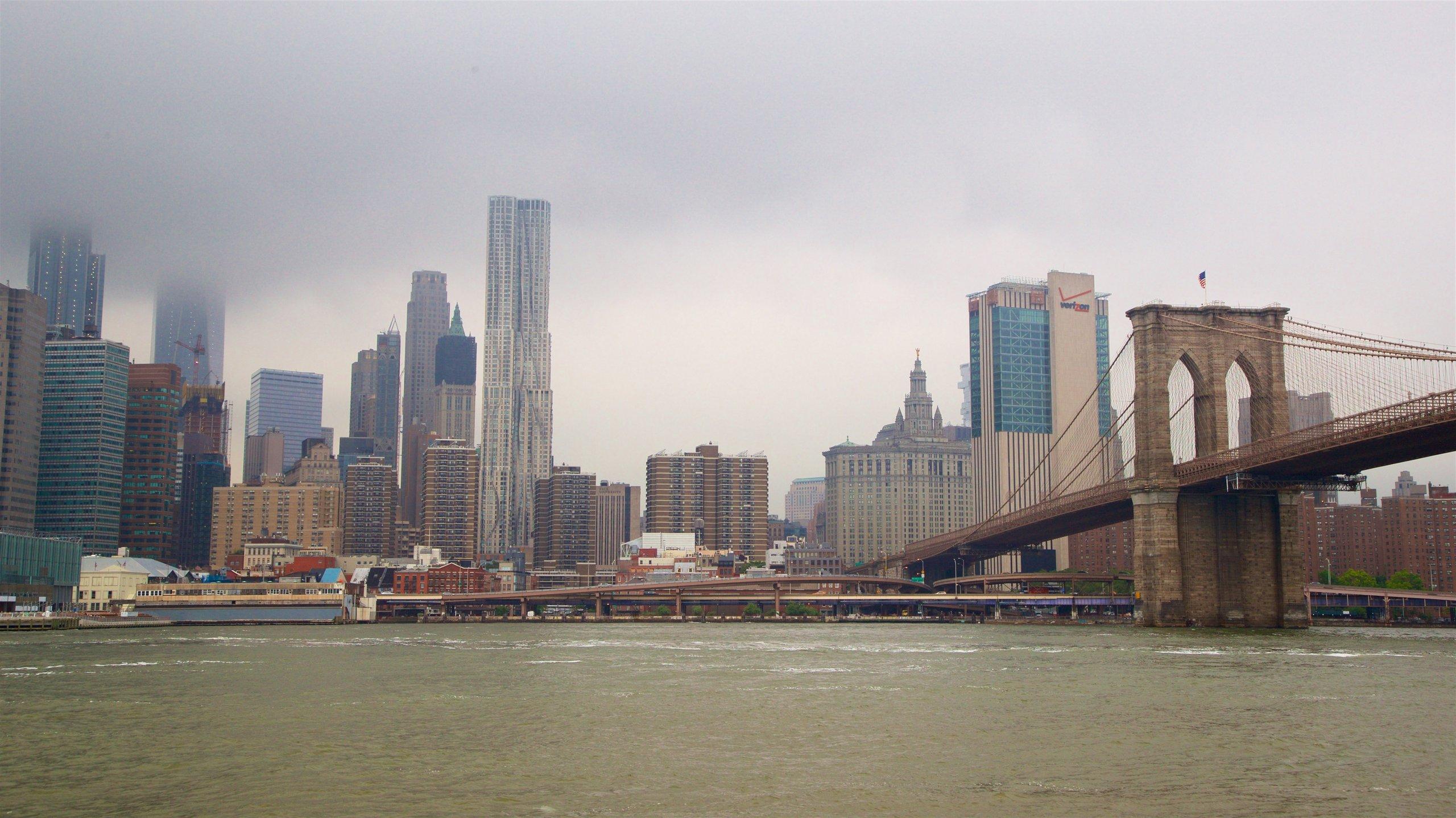 Downtown Brooklyn che include ponte, città e nebbia e foschia