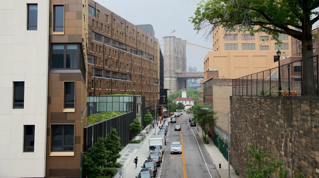 Downtown Brooklyn caracterizando uma ponte e uma cidade