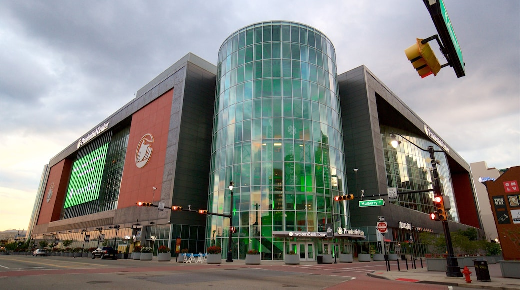 Prudential Center joka esittää moderni arkkitehtuuri ja kaupunki