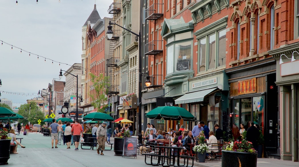 Downtown Jersey City which includes outdoor eating as well as a small group of people