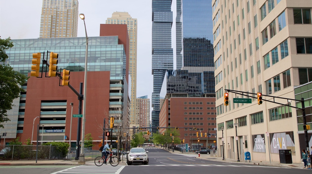 Downtown Jersey City showing a city and a high rise building