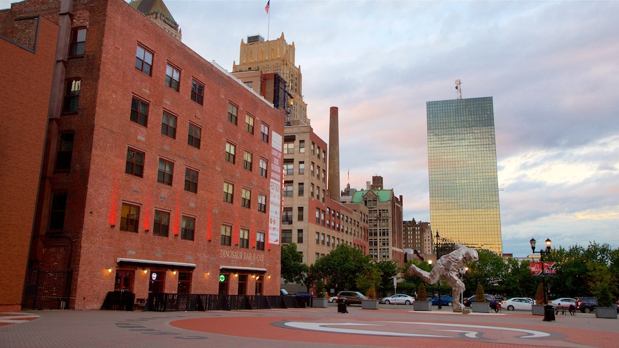 Downtown Newark featuring a square or plaza, a city and outdoor art