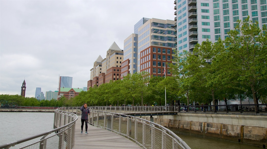 Pier A Park showing a river or creek, street scenes and a city