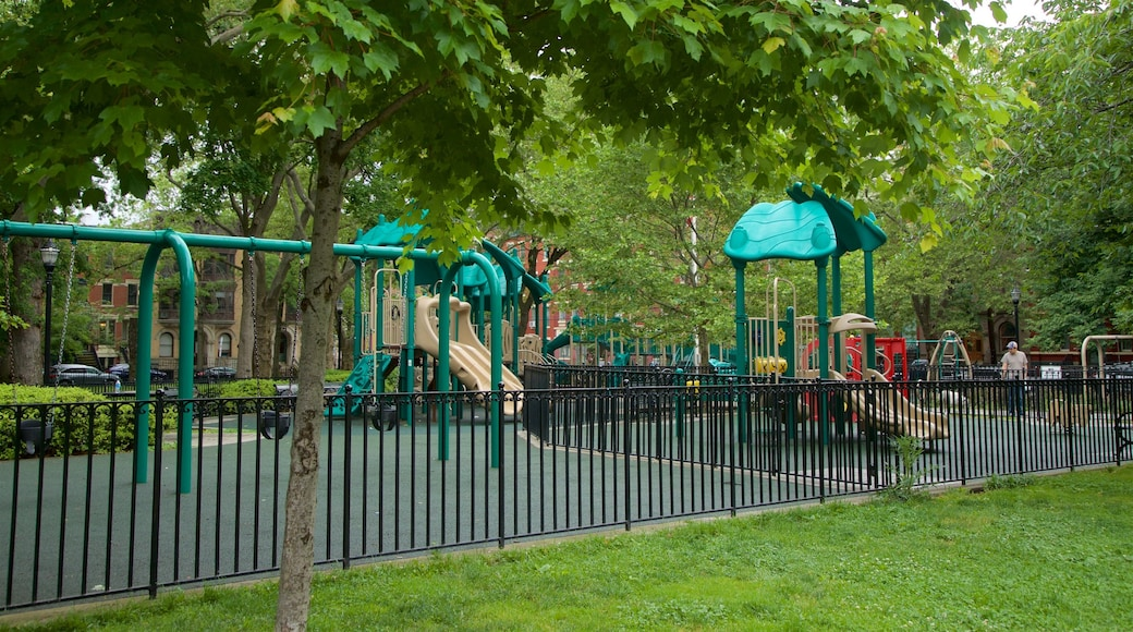 Hamilton Park showing a garden and a playground