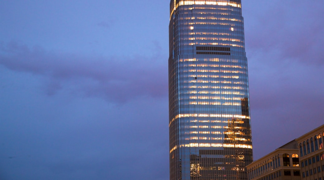 Goldman Sachs Tower which includes night scenes and a high-rise building