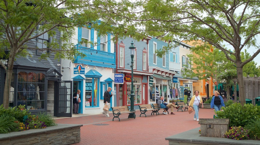 Washington Street Mall showing street scenes and a small town or village