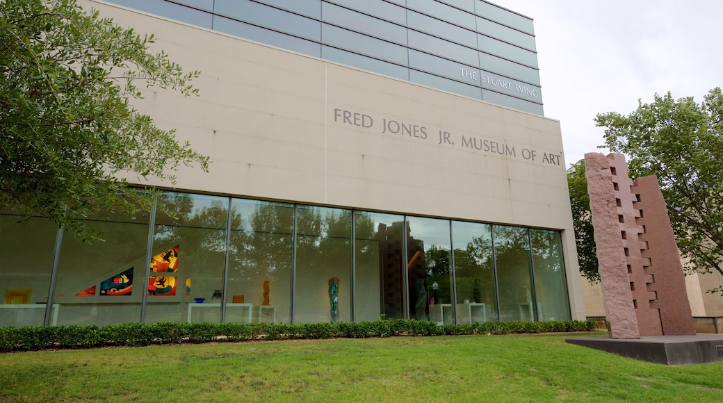 Fred Jones Jr. Museum of Art which includes a park, outdoor art and signage