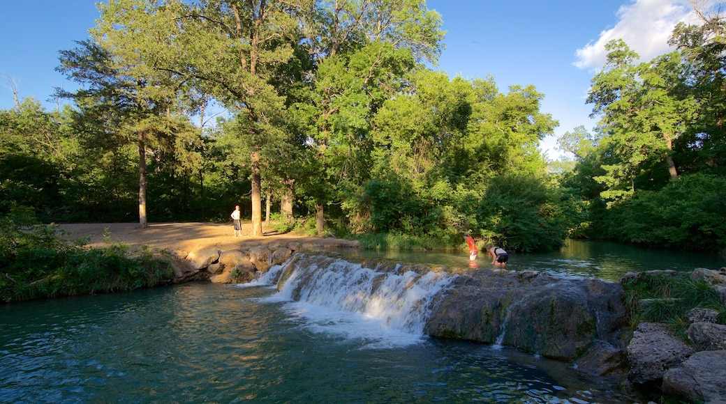 Chickasaw National Recreation Area which includes forest scenes and a river or creek as well as a small group of people