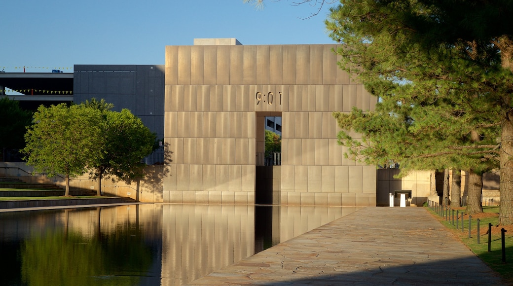 Oklahoma City National Memorial and Museum featuring a park, heritage architecture and a pond