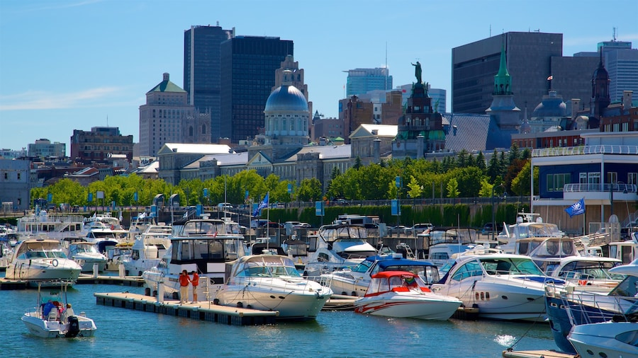 Montreal showing a bay or harbour, a high-rise building and a city
