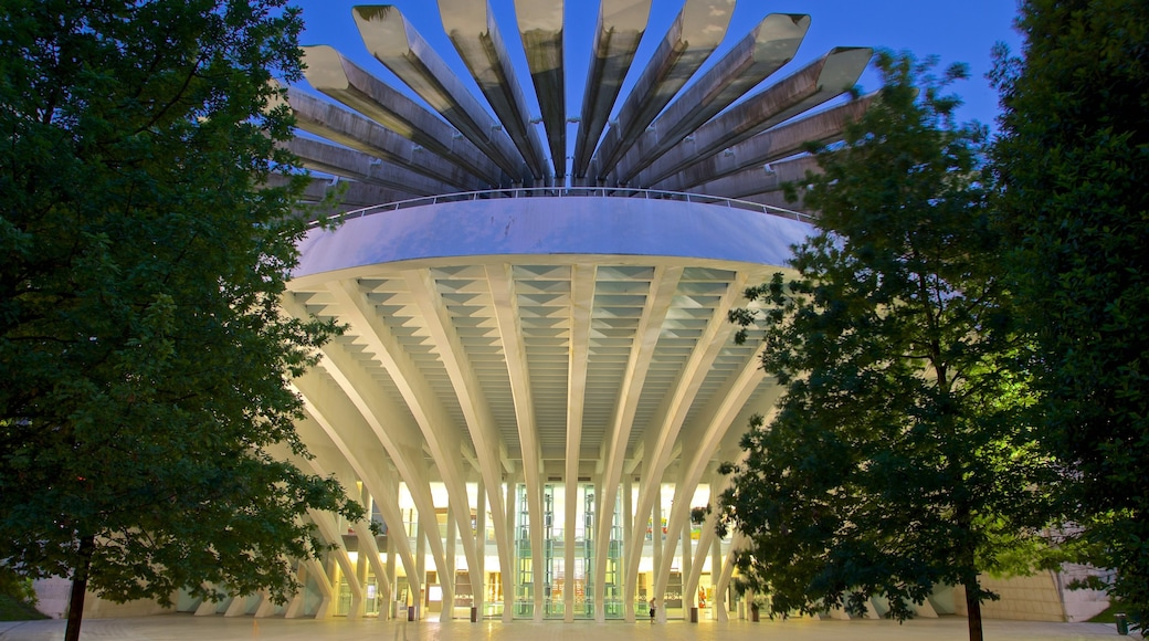 Palacio de Exposiciones y Congresos which includes night scenes and modern architecture