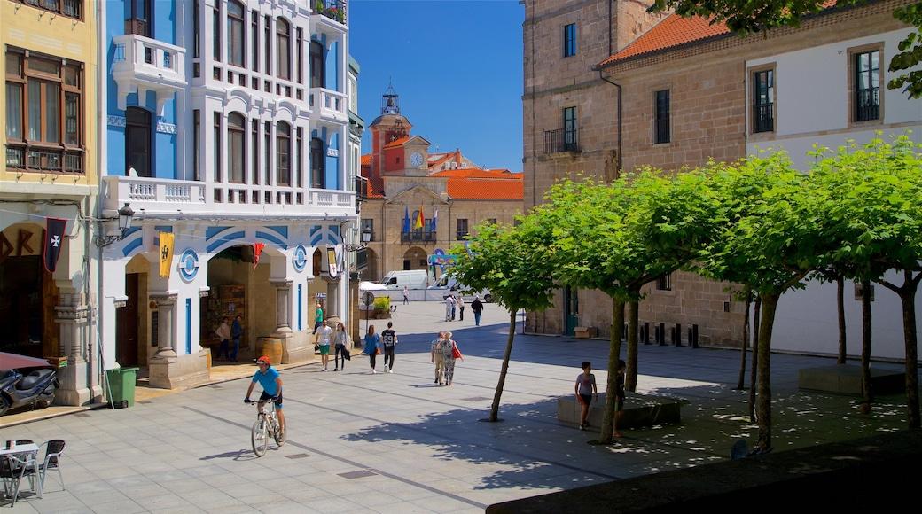 Avilés que incluye elementos patrimoniales, escenas cotidianas y una ciudad