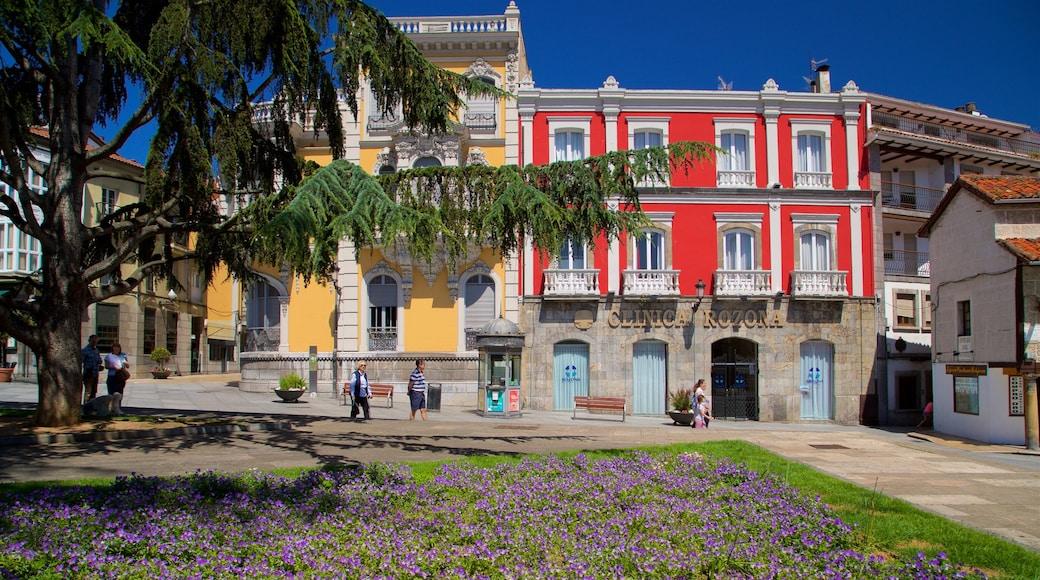 Aviles presenterar en park, historiska element och blommor