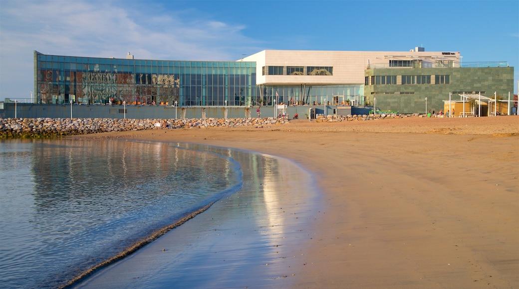 Centro de ocio, salud y belleza Talasoponiente que incluye una playa, una localidad costera y vistas de una costa