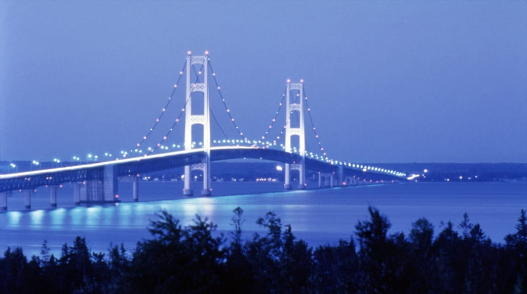 Mackinac Island which includes night scenes, island views and a bridge