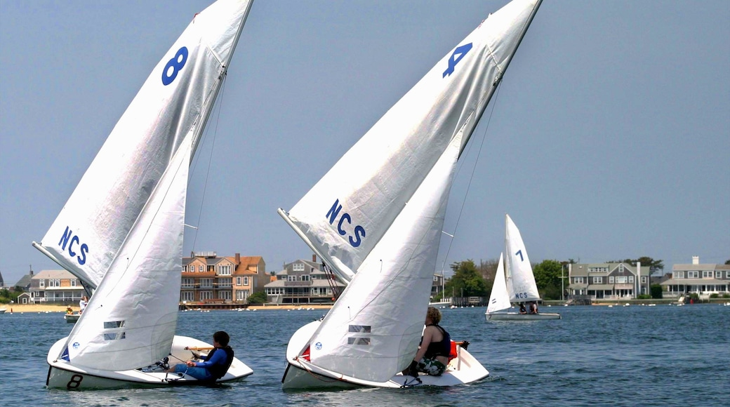 Nantucket which includes a sporting event, sailing and a coastal town