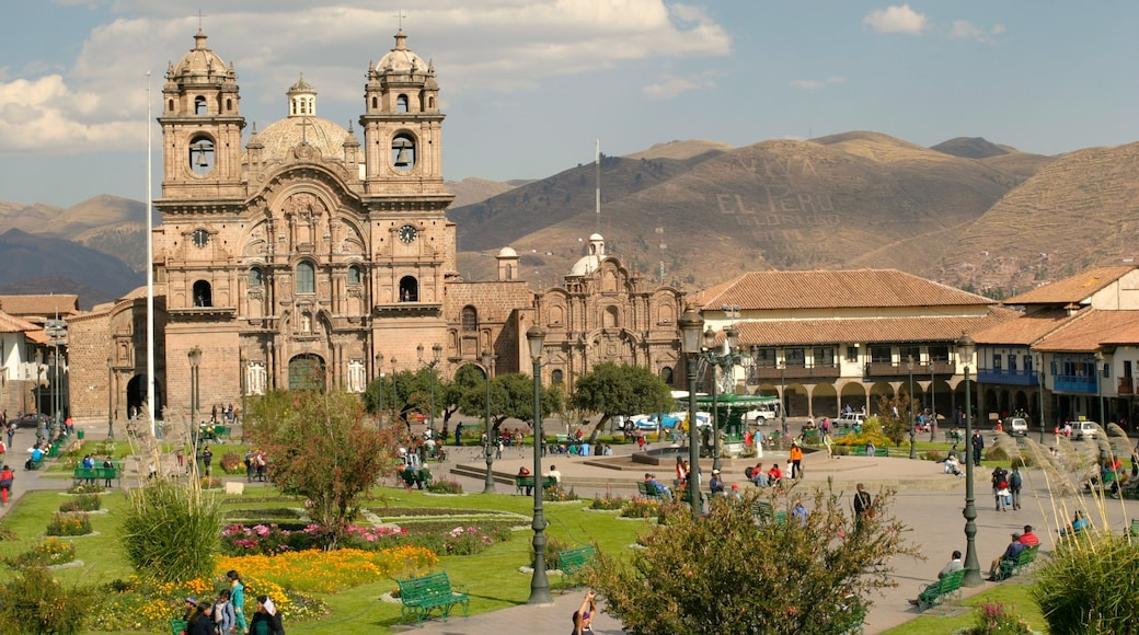 Peruvian Highlands featuring a square or plaza, a church or cathedral and a city