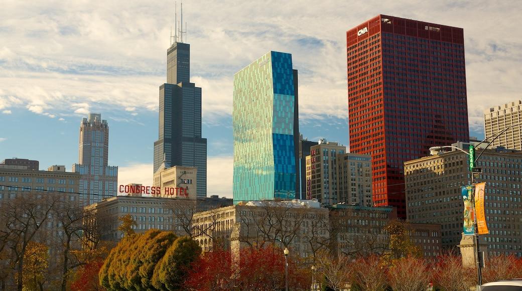 Millennium Park showing central business district, a city and modern architecture