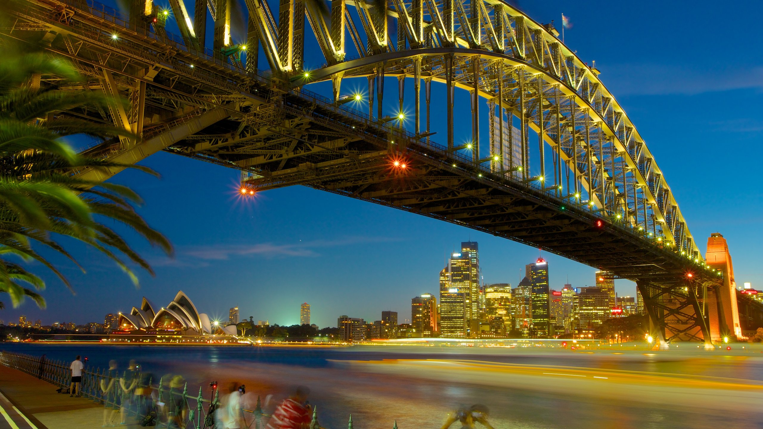 Sydney featuring night scenes, a bridge and a river or creek