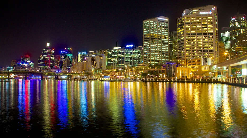 Sydney showing a city, night scenes and general coastal views