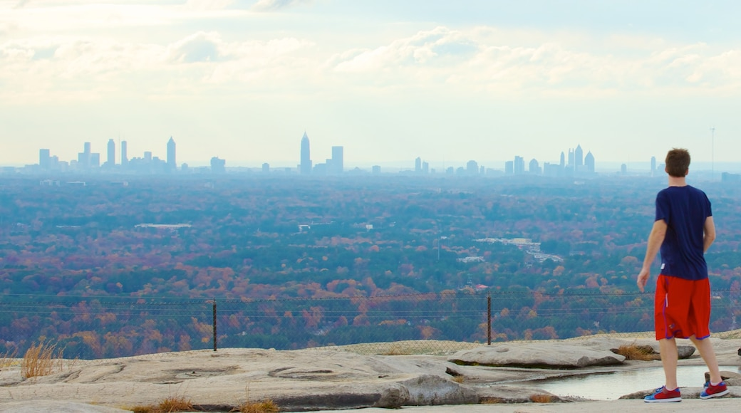 Stone Mountain Park featuring landscape views, skyline and a city