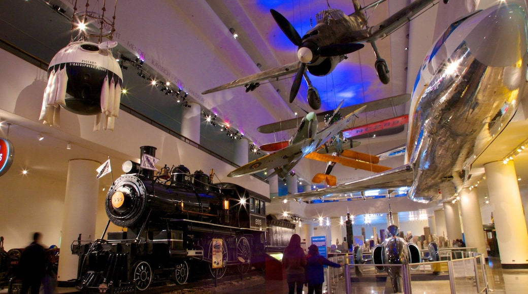 Chicago Museum of Science and Industry showing railway items, interior views and aircraft