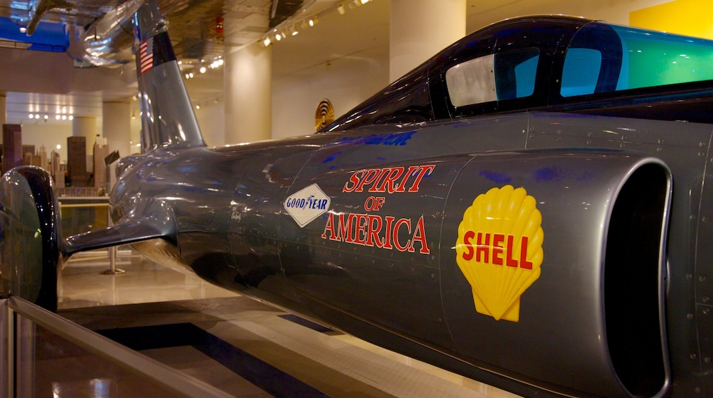 Chicago Museum of Science and Industry featuring aircraft, interior views and signage