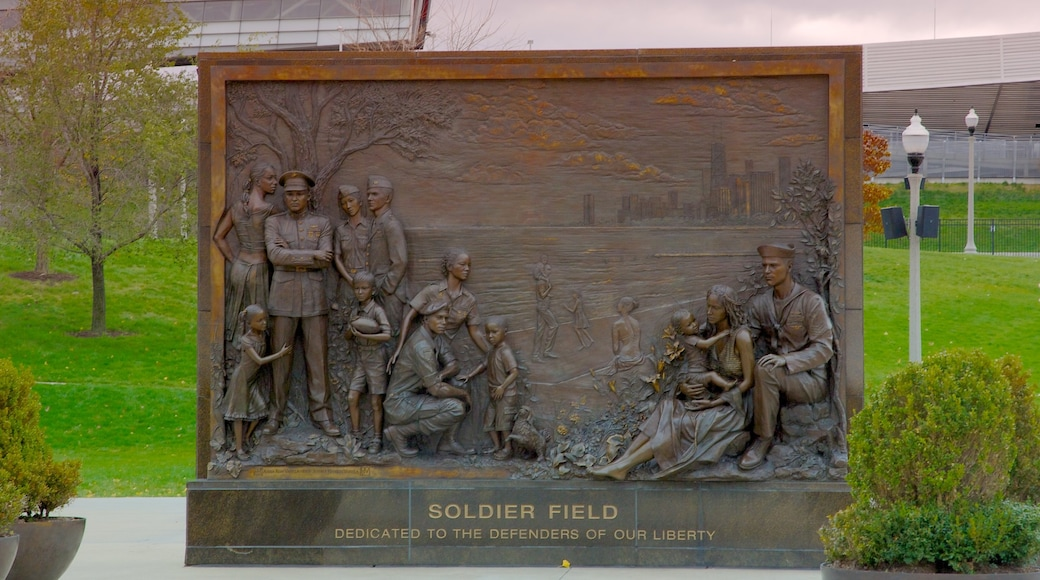 Soldier Field showing a park and a memorial