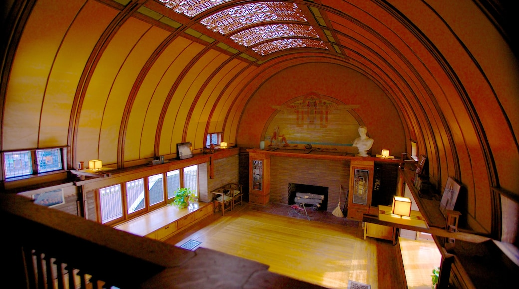 Frank Lloyd Wright Home and Studio featuring interior views