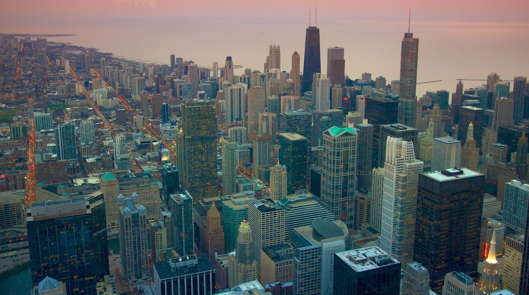Willis Tower which includes a bay or harbour, a high-rise building and a city