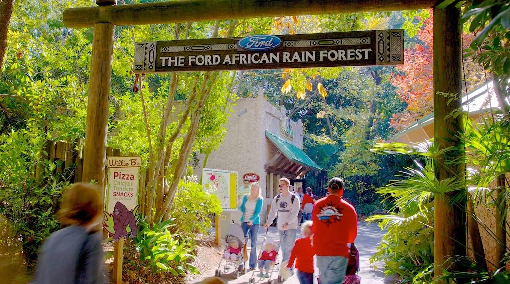 Zoo Atlanta featuring signage and zoo animals