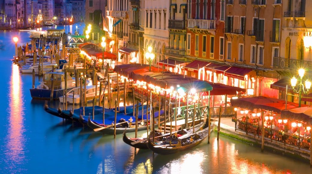 Grand Canal featuring night scenes, a marina and a city