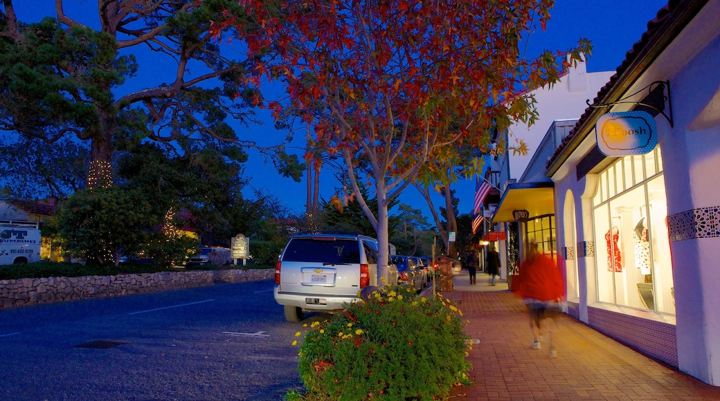 Carmel which includes a city, night scenes and street scenes
