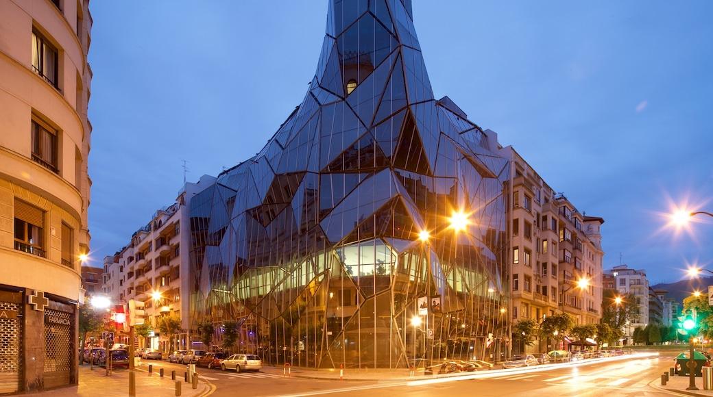 Bilbao which includes night scenes, modern architecture and a city