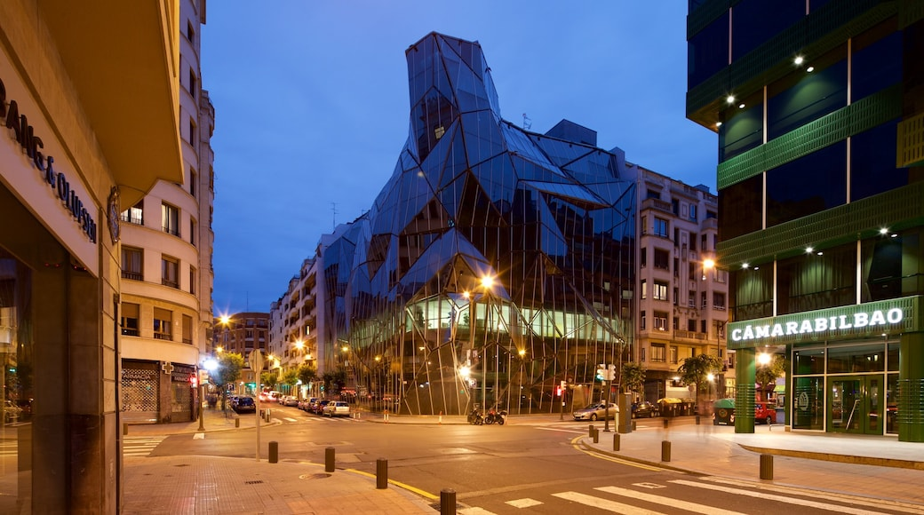 Bilbao featuring modern architecture, a city and night scenes