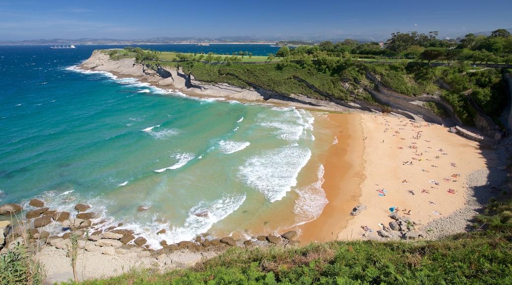 Santander showing rugged coastline, a sandy beach and general coastal views