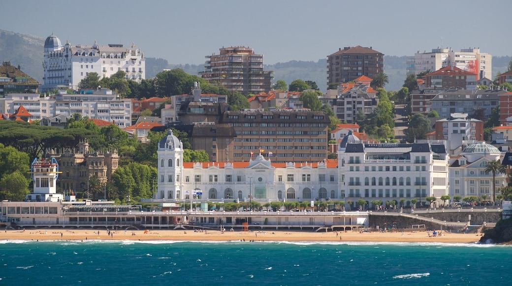 El Sardinero Beach featuring a sandy beach, a coastal town and general coastal views