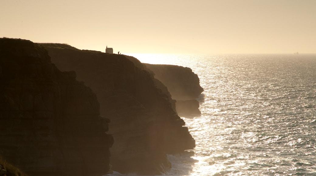 Santander featuring a sunset, rugged coastline and general coastal views