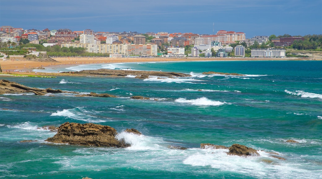 Magdalena Peninsula which includes general coastal views, rocky coastline and a beach