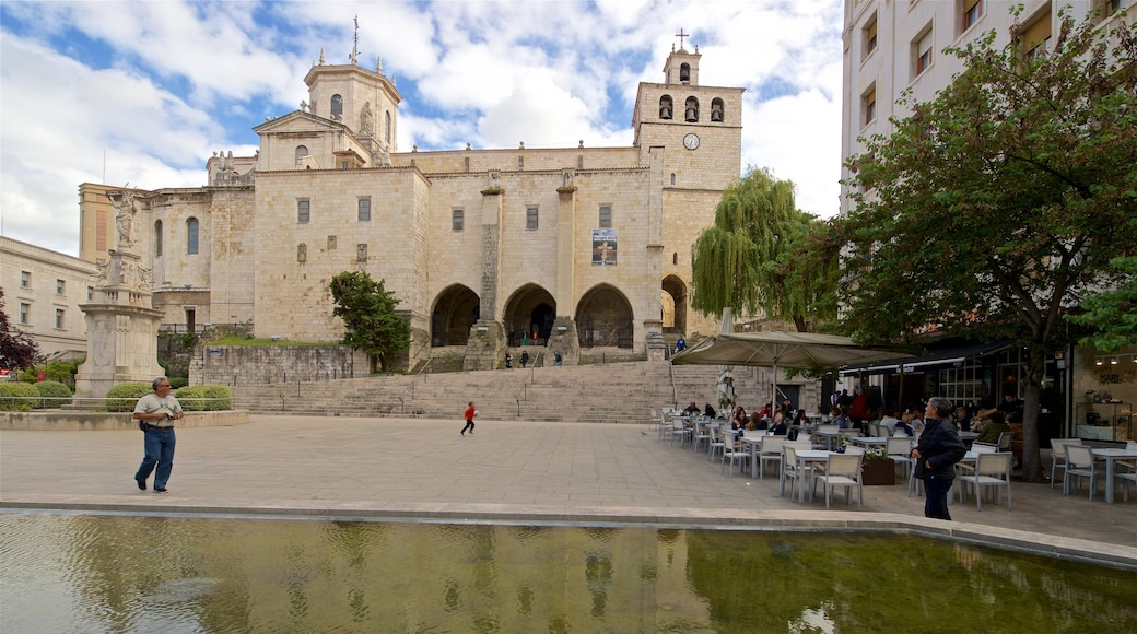 Santander Cathedral showing a statue or sculpture, a pond and heritage architecture