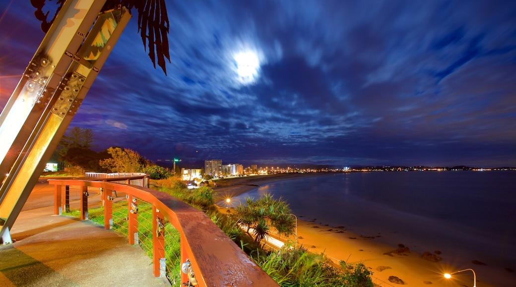 Coolangatta featuring a beach, night scenes and general coastal views
