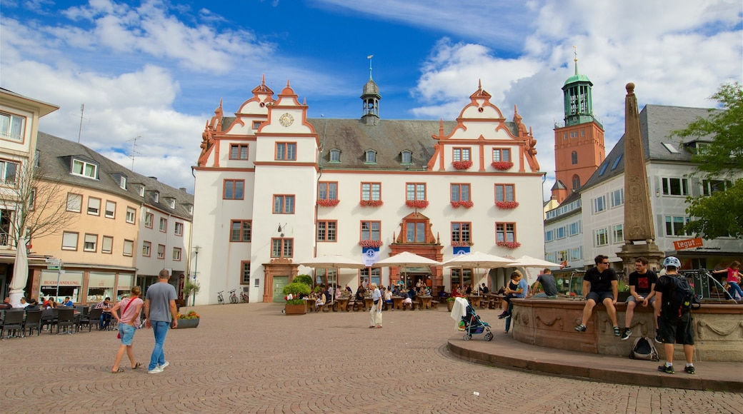 Darmstadt which includes a square or plaza, street scenes and a fountain