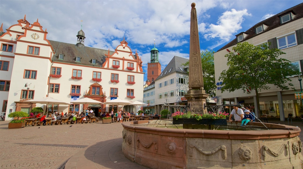 Darmstadt which includes a square or plaza and a fountain